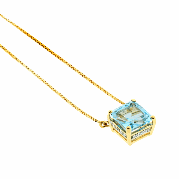 Gargantilha Ouro 18K Pedra Topázio Sky Azul