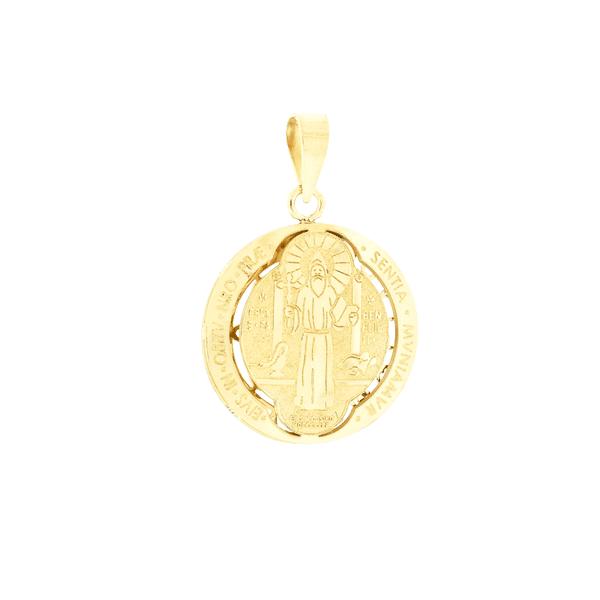 Pingente de São Bento Ouro 18K Duplo Pequeno