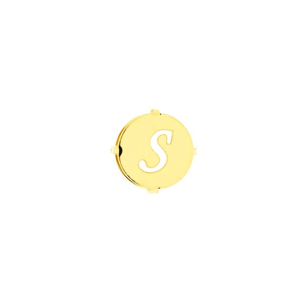 Pingente de Ouro 18K Letra S Redondo