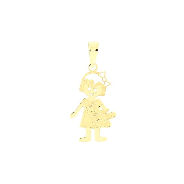 Pingente de Ouro 18K Filha Menina com Urso