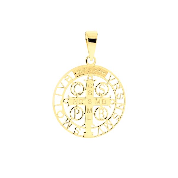 Pingente Cruz São Bento em Ouro 18K Tamanho Pequeno 1,7cm