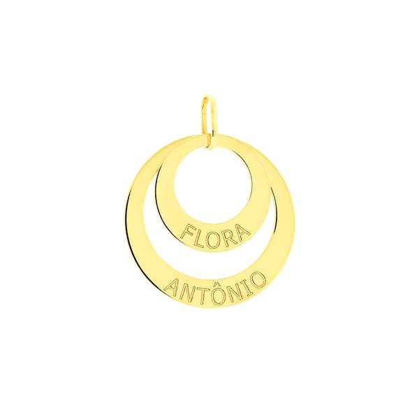 Pingente Mandala Dois Aros Ouro 18K Personalizado