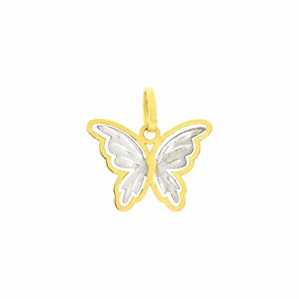 Pingente em Ouro 18K Borboleta Bicolor