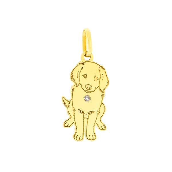 Pingente Ouro 18K Cachorro Golden Retriever com Brilhante
