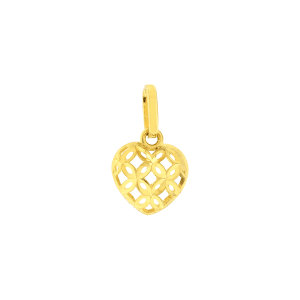 Pingente de Coração em Ouro 18K Pequeno Diamantado