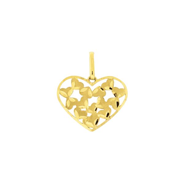 Pingente de Ouro 18K Coração Borboleta