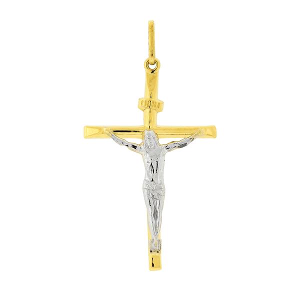 Pingente Crucifixo Ouro 18K Bicolor