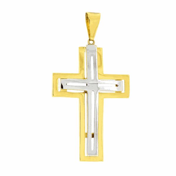 Pingente Cruz de Ouro 18K Bicolor Grande