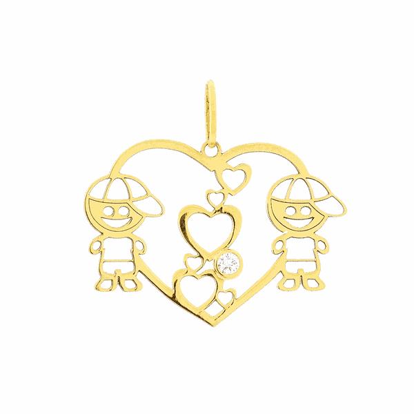 Pingente de Ouro 18K Coração com Dois Filhos Menino