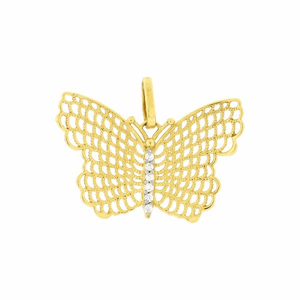 Pingente em Ouro 18K Borboleta Vazada com Zircônias