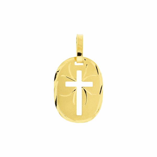 Pingente de Ouro 18K Placa com Cruz Vazada