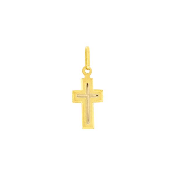 Pingente de Ouro 18K Cruz Trabalhada Pequena