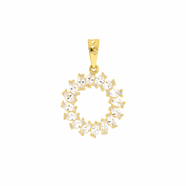 Pingente Círculo Argola Cravejado de Zirconias Ouro 18K