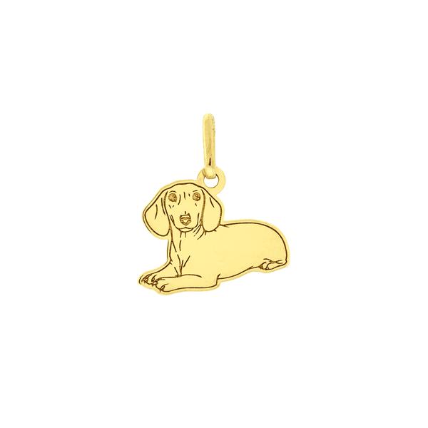 Pingente de Ouro 18K Cachorro Dachshund Deitado Pequeno