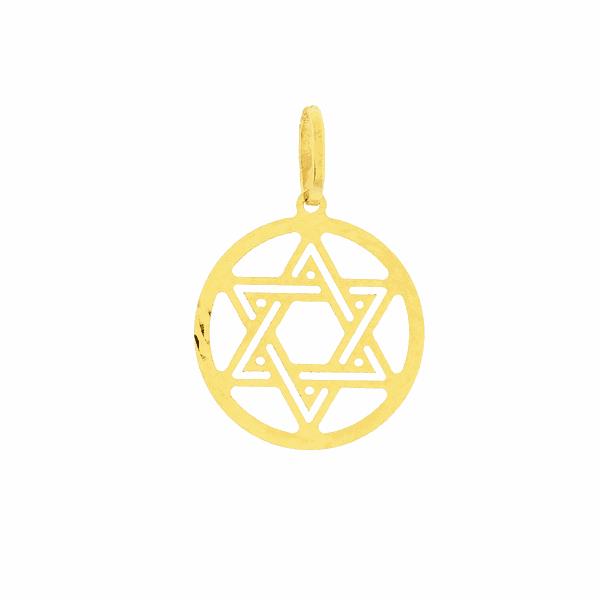 Pingente Estrela de Davi Ouro 18K com Aro