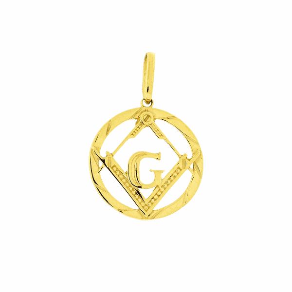 Pingente Maçonaria Ouro 18K Círculo Vazado