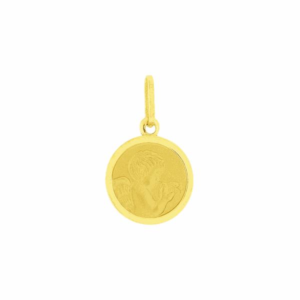 Pingente Ouro 18K Medalha Anjo da Guarda