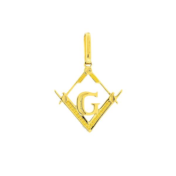 Pingente Maçonaria Ouro 18K Losango Vazado