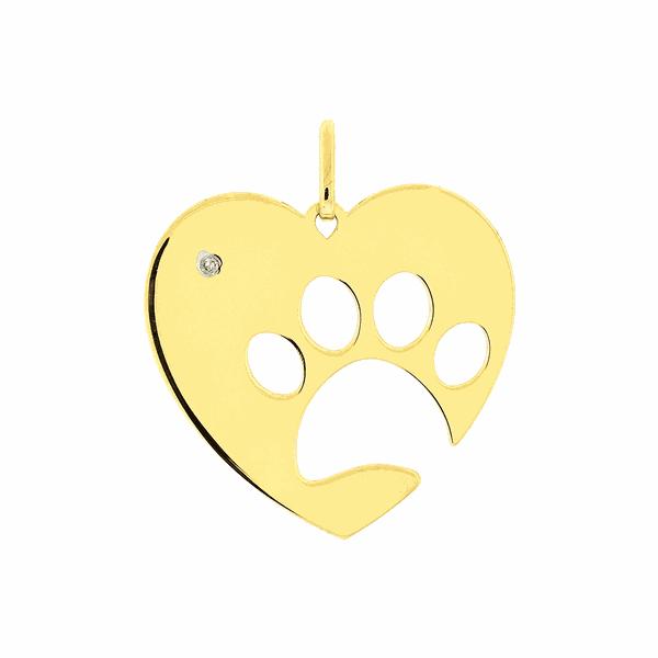 Pingente de Ouro 18K Coração com Pata de Cachorro