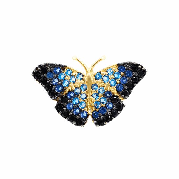 Pingente Borboleta Azul Zircônias Coloridas Ouro 18K