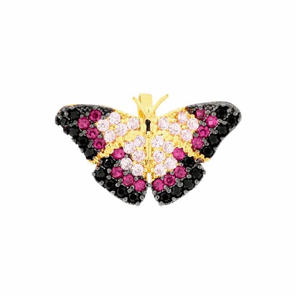 Pingente Borboleta Rosa com Zircônias Coloridas em Ouro 18K