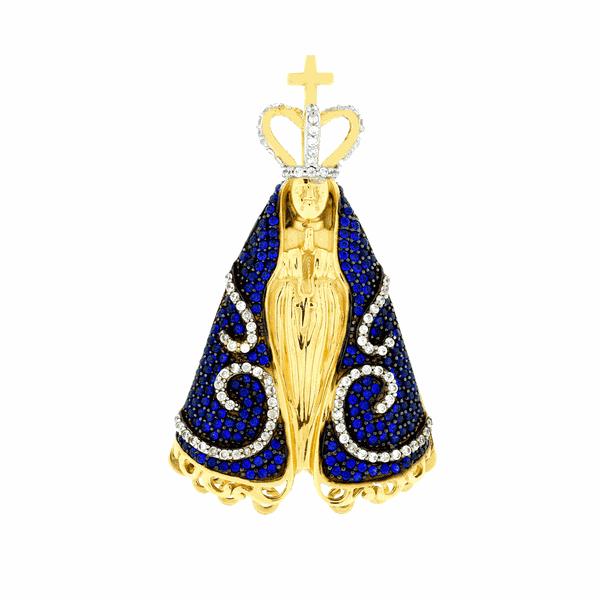 Pingente Nossa Senhora Aparecida com Zirconias em Ouro 18K