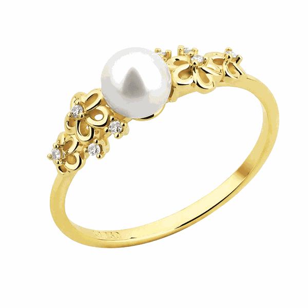 Anel com Pérola e Brilhantes Detalhe Flores em Ouro 18K