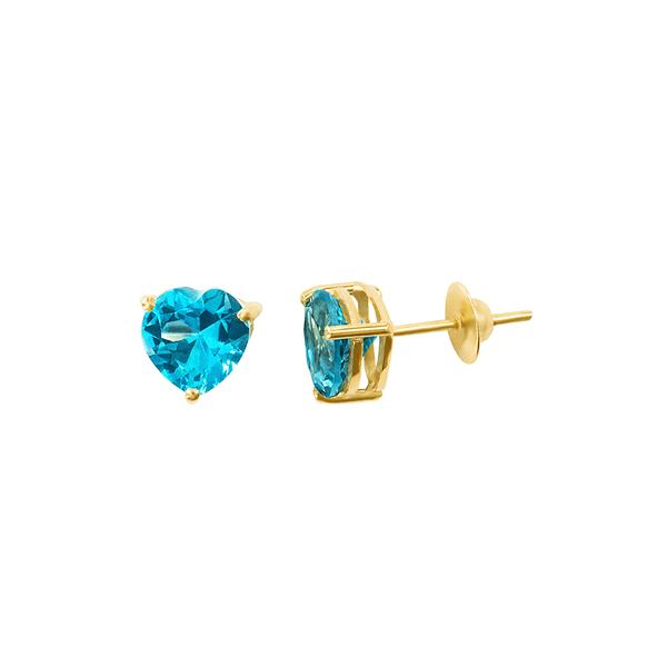 Brinco de Coração Azul Topázio em Ouro 18K