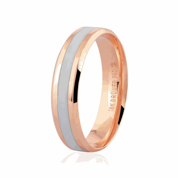 Aliança de Ouro Rosé 18K com Detalhe Pigmentado 5mm