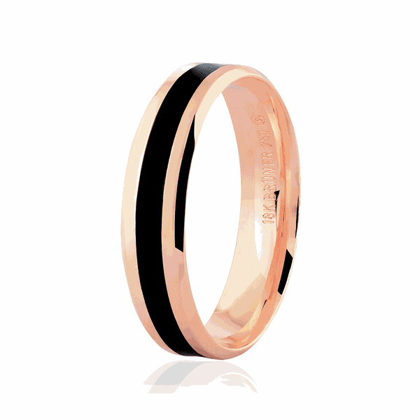 Aliança de Ouro Rosé 18K com Detalhe Pigmentado Negro 5mm