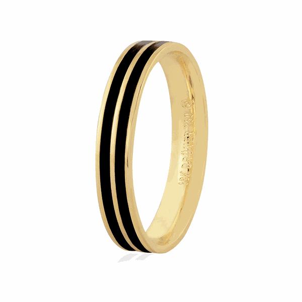 Aliança de Ouro 18K com Pigmento Negro 3,5mm