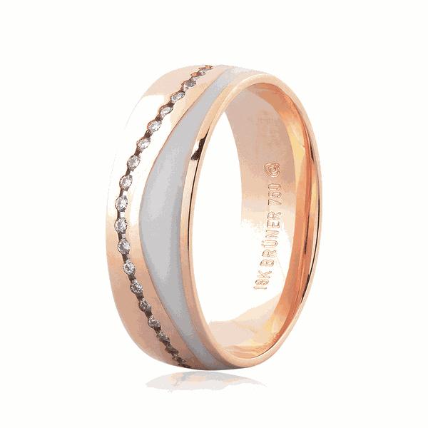Aliança de Ouro Rosé 18K com Brilhante e Detalhe em Pigmento 6mm