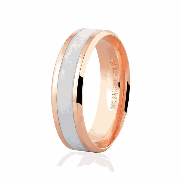 Aliança de Ouro Rosé 18K com Detalhe Pigmentado 6mm