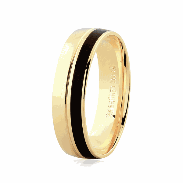 Aliança de Ouro 18K com Pigmento Negro 5,50mm