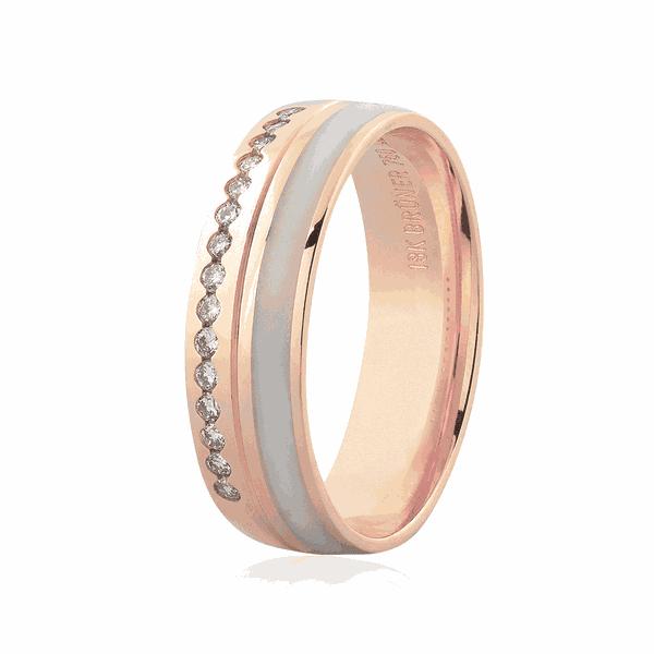 Aliança de Ouro Rosé 18K Brilhantes e Detalhe em Pigmento 5,50mm