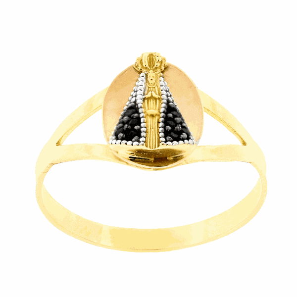 Anel de Ouro 18K Nossa Senhora Aparecida com Zircônias Negras