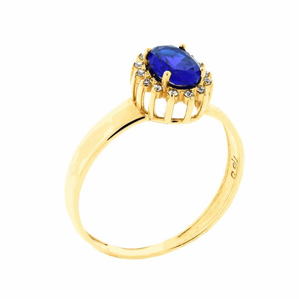 Anel de Ouro 18K Pedras de Zircônia Azul Formatura
