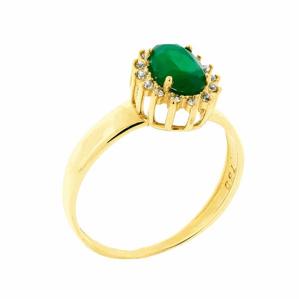Anel de Ouro 18K Pedras de Zircônia Verde Formatura