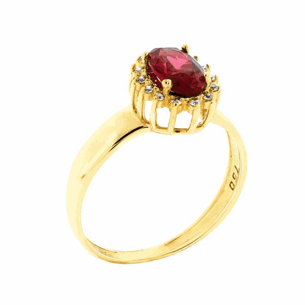 Anel de Ouro 18K Pedras de Zircônia Vermelha Formatura