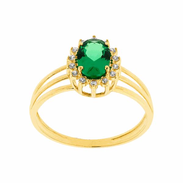 Anel Ouro 18K Pedras de Zirconia Verde e Brancas