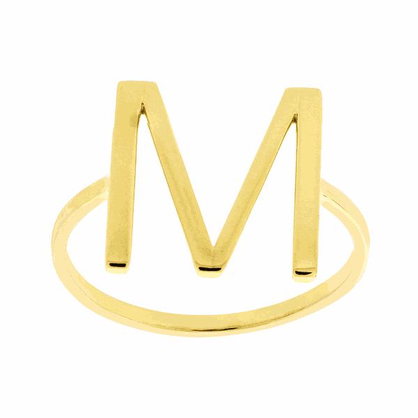 Anel de Letra M em Ouro 18K
