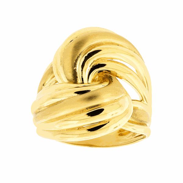 Anel de Ouro 18K Detalhe Entrelaçado Fosco e Polido