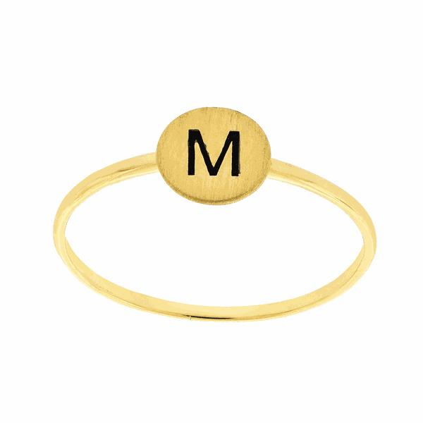 Anel de Ouro 18K com Letra M