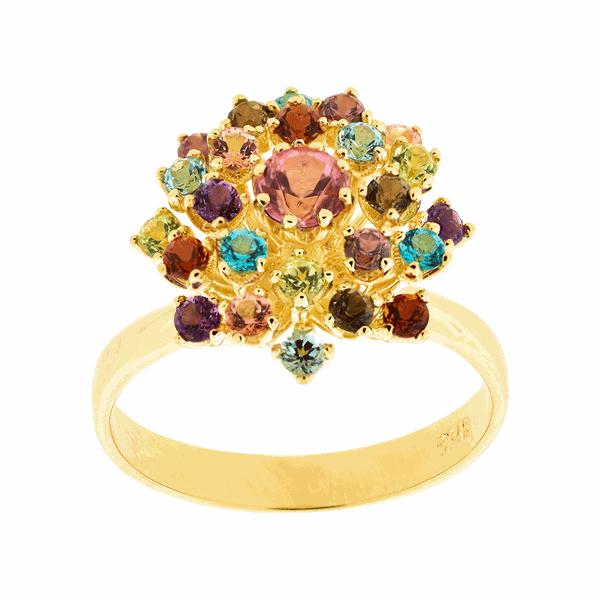 Anel de Ouro 18K Buquê com Pedras Naturais Coloridas