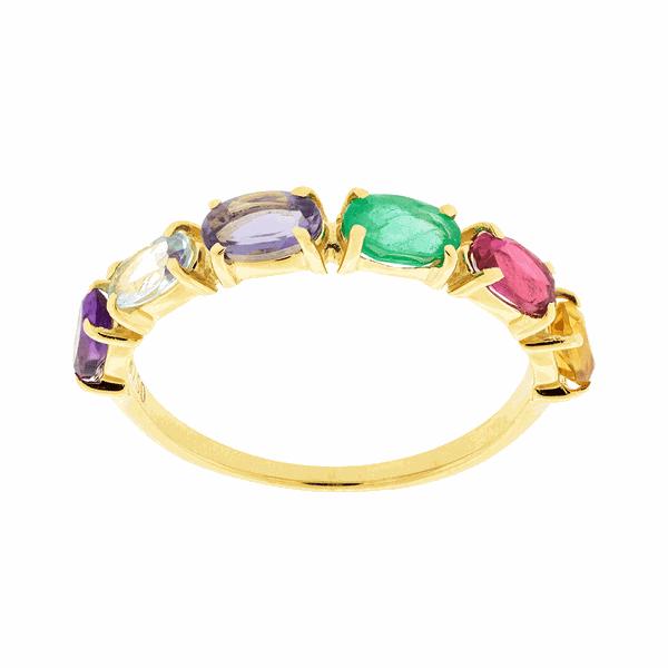 Meia Aliança com Pedras Naturais Coloridas Ouro 18K