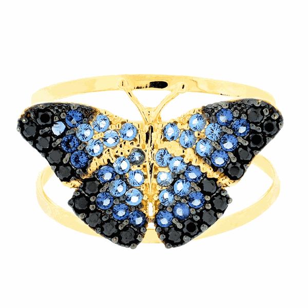 Anel Borboleta Azul com Zircônias Ouro 18K