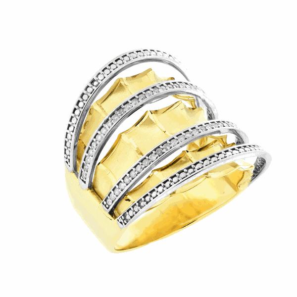 Anel em Ouro 18K Largo com Diamantes