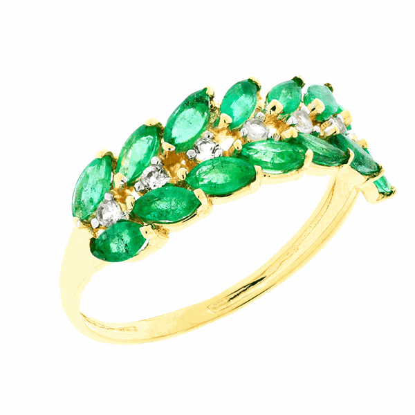 Anel de Ouro 18K Meia Aliança de Esmeralda com Cristal