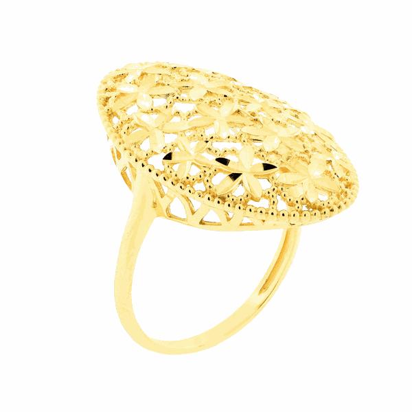 Anel Grande Oval Detalhe Flores Diamantado Ouro 18K