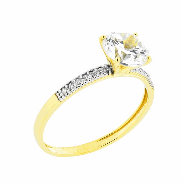 Anel Solitário com Pedras Zircônias em Ouro 18K